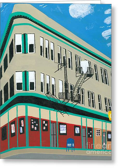 New Mind Greeting Cards - Flat Iron Building Greeting Card by Dennis ONeil