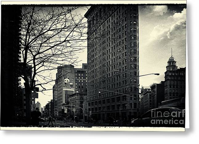 Flat Iron Building Greeting Cards - Flat Iron Building Fifth Avenue and Broadway Greeting Card by Sabine Jacobs