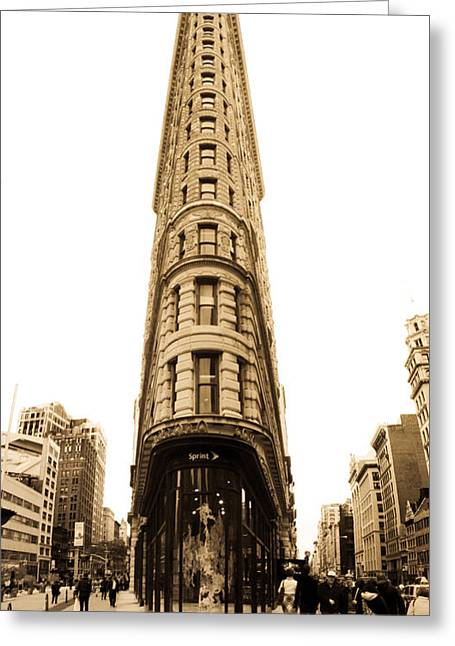 Flat Iron Building Greeting Cards - Flat Iron Building in New York City Greeting Card by John McGraw