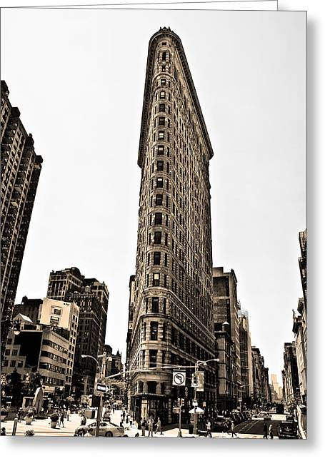 Flat Iron Building Greeting Cards - Flat Iron Building in Sepia Greeting Card by Bill Cannon