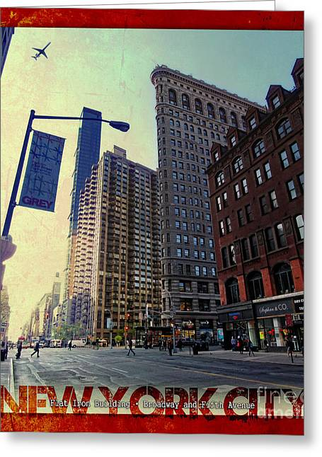 Flat Iron Building Greeting Cards - Flat Iron Building Poster Greeting Card by Nishanth Gopinathan