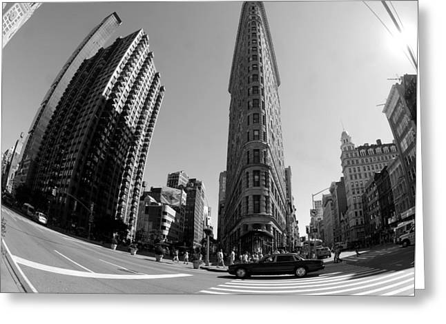 Flat Iron Building Greeting Cards - Flat Iron Fish Eye Greeting Card by Mike Lindwasser Photography