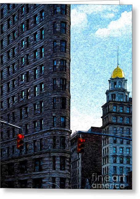 Busybee Greeting Cards - Flat Iron NYC Greeting Card by Sabine Jacobs