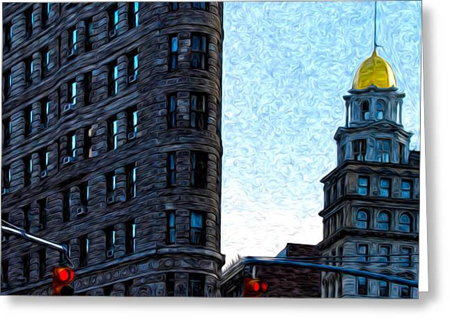 Flat Iron NYC Greeting Card by Sabine Jacobs
