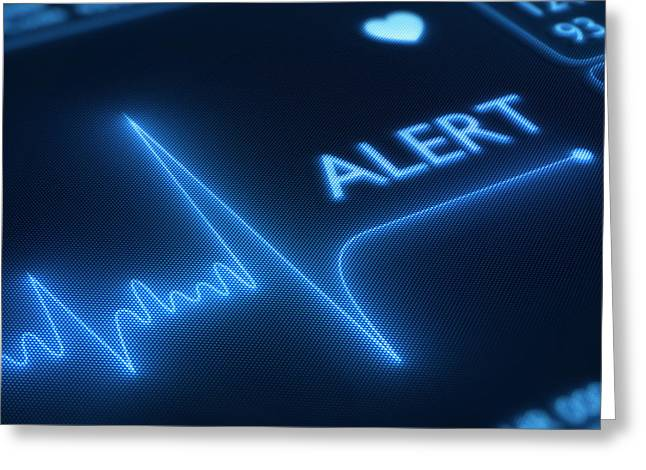 Technology Greeting Cards - Flat line alert on heart monitor Greeting Card by Johan Swanepoel