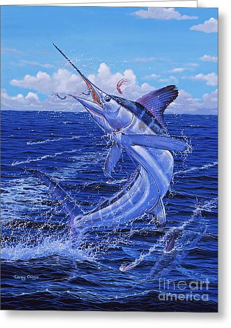 Sportfishing Boats Greeting Cards - Flat Line Off0077 Greeting Card by Carey Chen