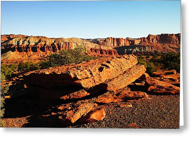 Boulder - Rock Greeting Cards - Flat Rock At Capital Reef Greeting Card by Jeff  Swan