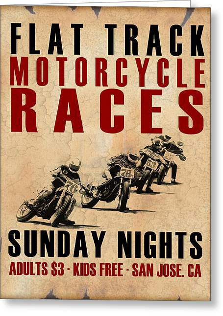 Flat Greeting Cards - Flat Track Motorcycle Races Greeting Card by Mark Rogan