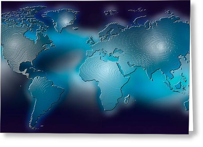 Global Communications Greeting Cards - Flat World Map On Blue Background Greeting Card by Panoramic Images