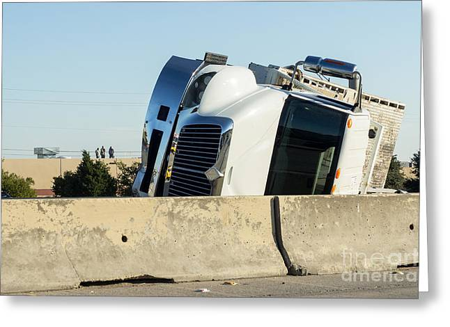 Overturn Greeting Cards - Flatbed truck overturned in HOV lane Greeting Card by IBC Stock Images