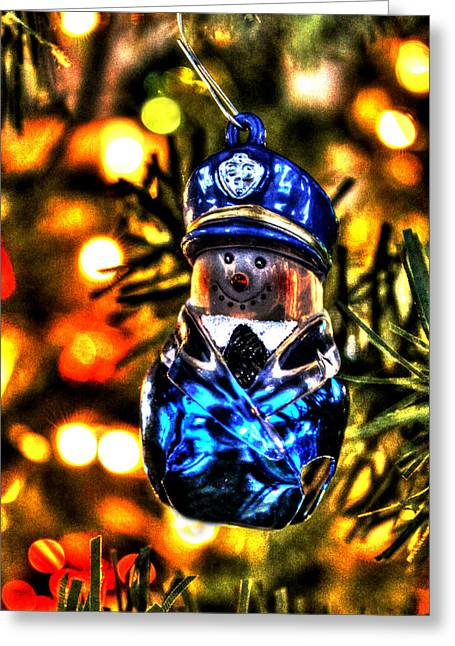 Recently Sold -  - Police Christmas Card Greeting Cards - Flatfoot Greeting Card by Ric Potvin