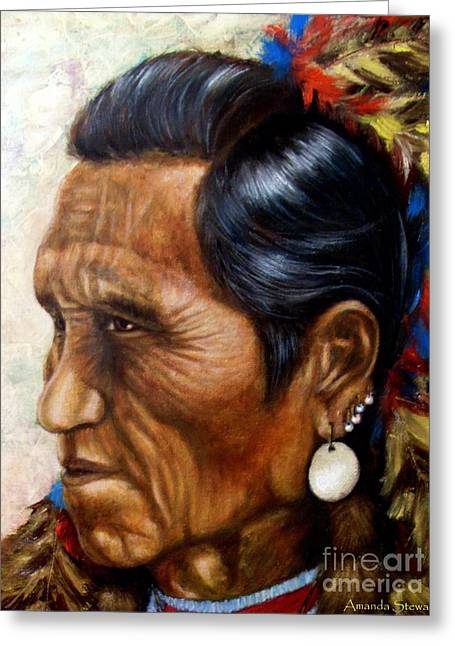 Commanche Greeting Cards - Flathead Indian Chief Greeting Card by Amanda  Stewart