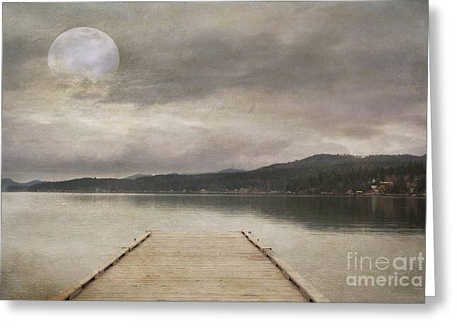 Wooden Dock Greeting Cards - Flathead Lake Greeting Card by Juli Scalzi