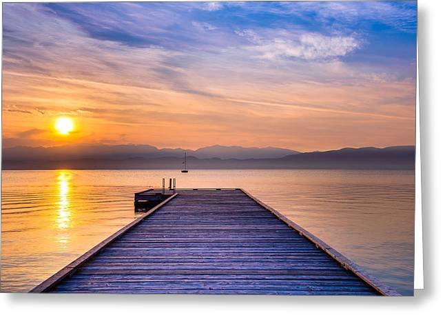 Big Sky Country Greeting Cards - Flathead Lake Sunrise Greeting Card by Adam Mateo Fierro