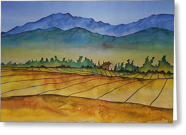 Silk Art Tapestries - Textiles Greeting Cards - Flathead Valley 1 Greeting Card by Carolyn Doe