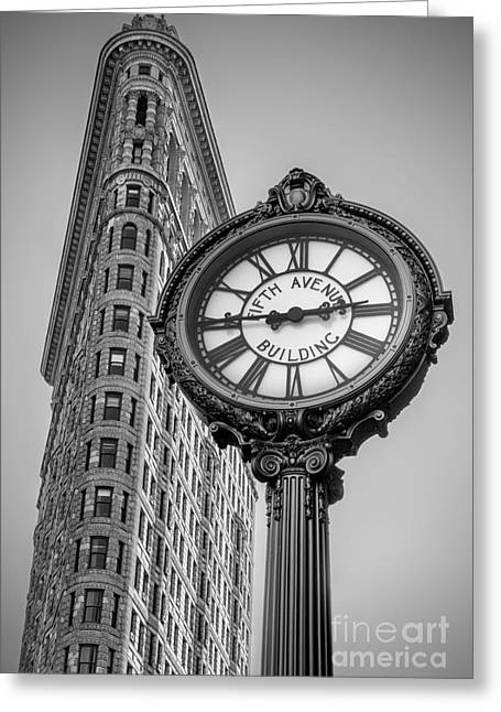 5th Avenue Place Greeting Cards - Flatiron and Clock Black and White Greeting Card by Jerry Fornarotto