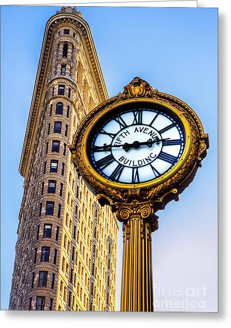 5th Avenue Place Greeting Cards - Flatiron and Clock Greeting Card by Jerry Fornarotto