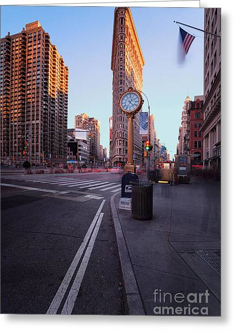 In-city Greeting Cards - Flatiron area in motion Greeting Card by John Farnan