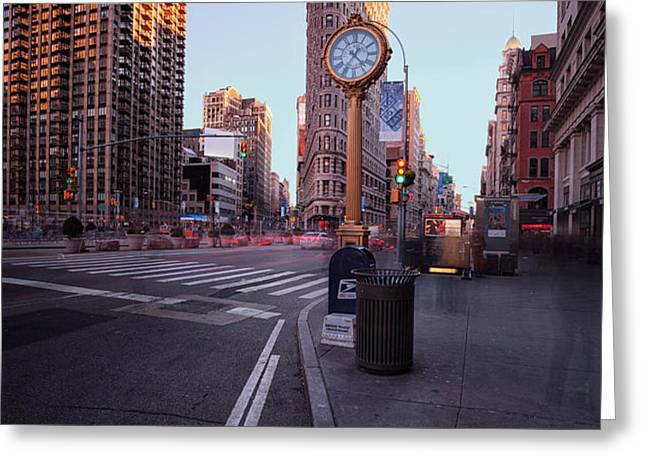 Flatiron area in motion Greeting Card by John Farnan