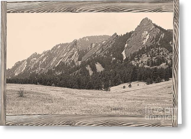 Country Pictures Greeting Cards - FlatIron Barn Wood Picture Window Frame Sepia View Greeting Card by James BO  Insogna