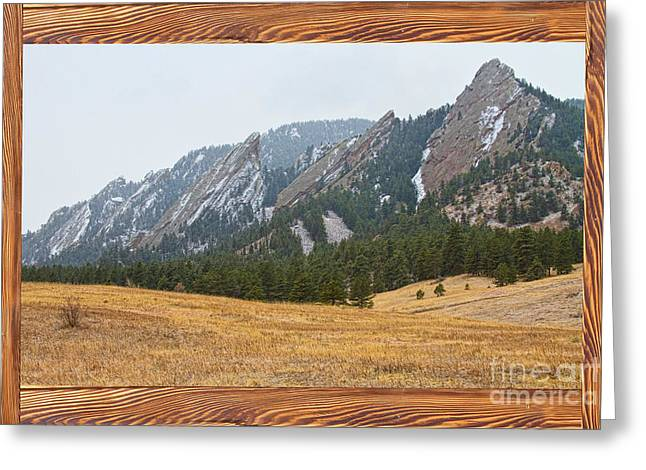 Country Pictures Greeting Cards - FlatIron Barn Wood Picture Window Frame View Greeting Card by James BO  Insogna