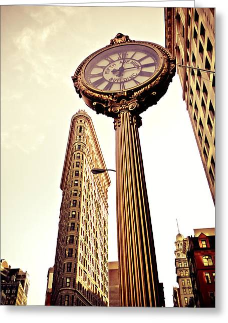 Flatiron Building Greeting Cards - Flatiron Building and 5th Avenue Clock Greeting Card by Vivienne Gucwa