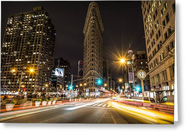 23rd Greeting Cards - Flatiron Building at Night Greeting Card by David Morefield