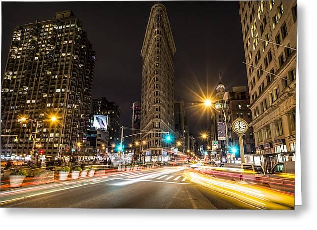Flatiron Building At Night Greeting Card by David Morefield