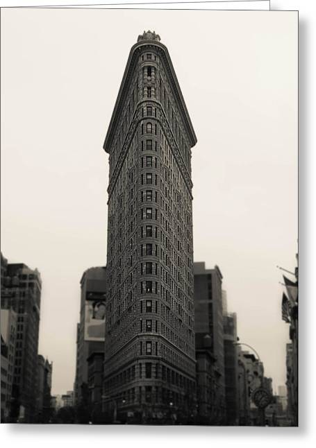 Buildings Mixed Media Greeting Cards - Flatiron Building - NYC Greeting Card by Nicklas Gustafsson