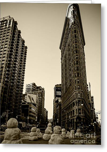 Installation Art Greeting Cards - Flatiron Building - Sepia Greeting Card by James Aiken