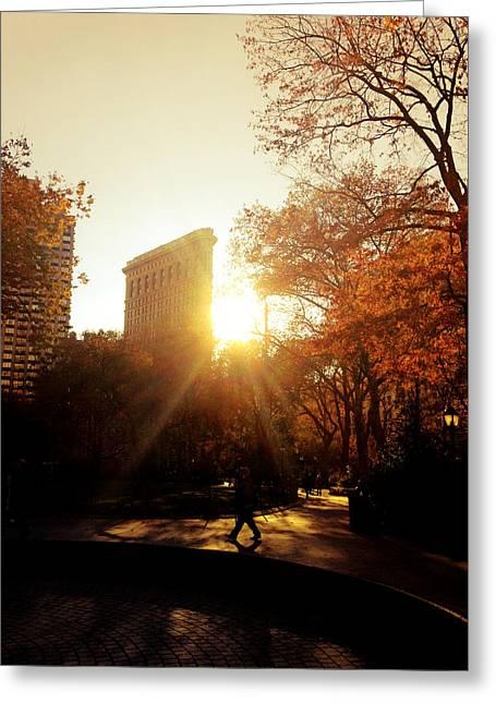 Flatiron Building Greeting Cards - Flatiron Building Sunset - Madison Square Park Greeting Card by Vivienne Gucwa