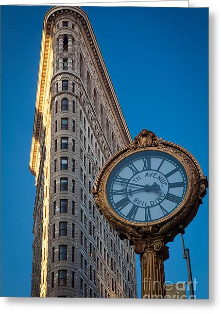 Clock Greeting Cards - Flatiron Clock Greeting Card by Inge Johnsson