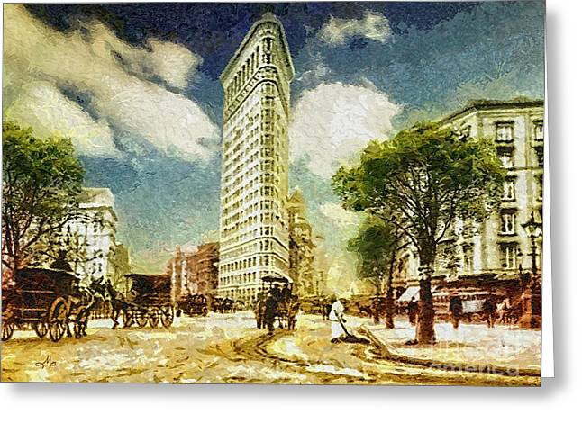 20th Greeting Cards - Flatiron Greeting Card by Mo T