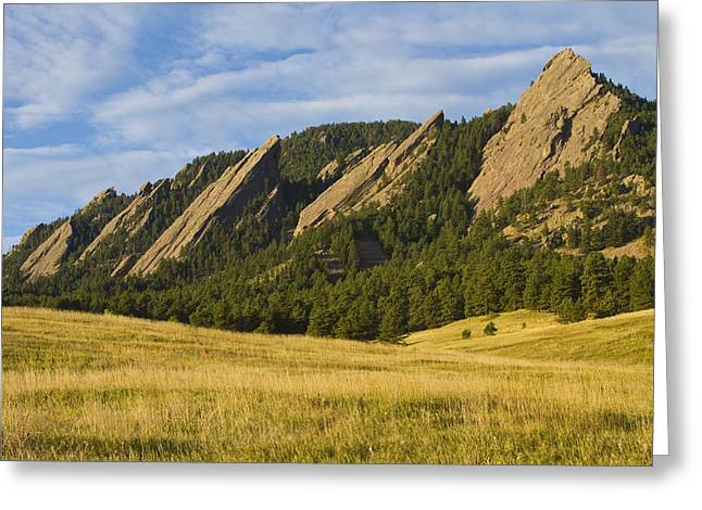 Colorado Nature Landscape Greeting Cards - Flatiron Morning Light Boulder Colorado Greeting Card by James BO  Insogna