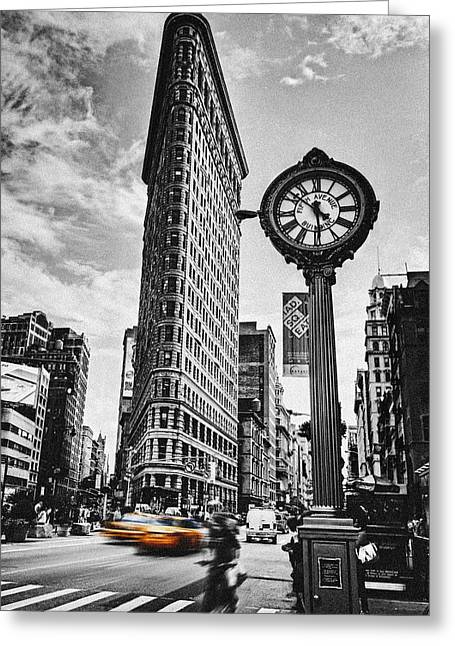 Clock Photographs Greeting Cards - Flatiron Rush Greeting Card by Andrew Paranavitana