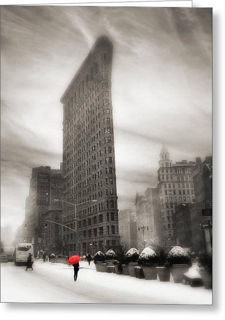 Street Scene Digital Greeting Cards - Flatiron Winter   Greeting Card by Jessica Jenney