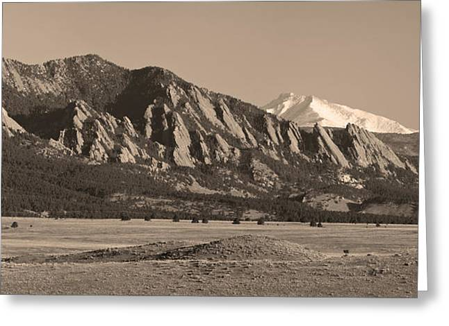 Colorado Front Range Greeting Cards - Flatirons and Snow Covered Longs Peak Panorama in Sepia Greeting Card by James BO  Insogna