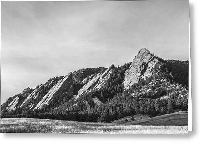 Colorado Mountain Prints Greeting Cards - Flatirons B W Greeting Card by Aaron Spong