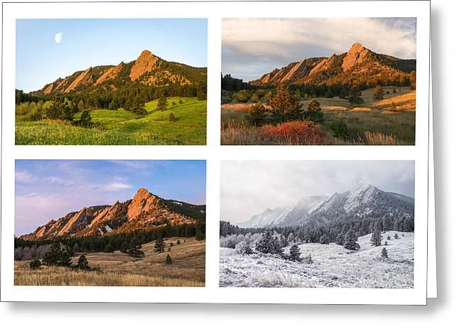 Flatirons Greeting Cards - Flatirons Four Seasons with Border Greeting Card by Aaron Spong