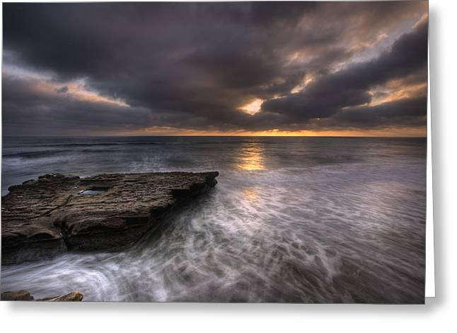 Tide Pools Greeting Cards - Flatrock Greeting Card by Peter Tellone