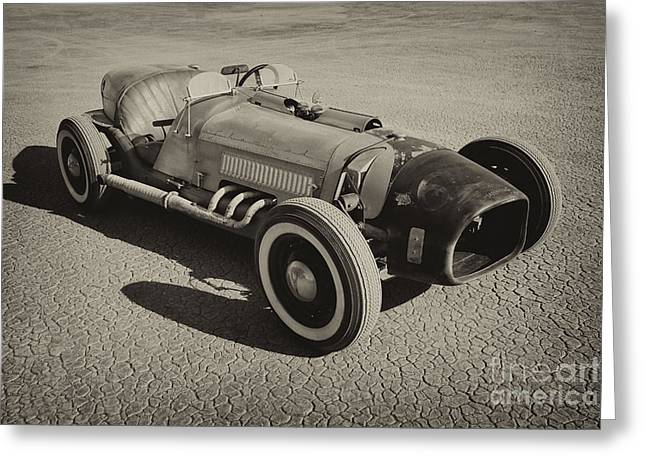 Land Speed Racing Greeting Cards - FlatRod Greeting Card by Dennis Hedberg