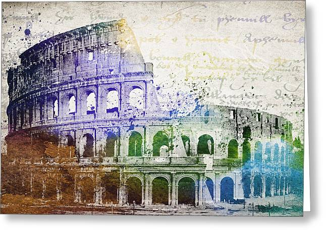 Domitian Greeting Cards - Flavian Amphitheatre Greeting Card by Aged Pixel