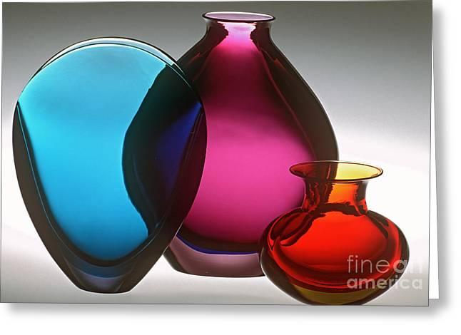 Glass Vase Greeting Cards - Flavio Poli Art Glass Greeting Card by James L. Amos