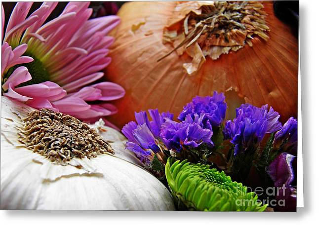 Interior Still Life Photographs Greeting Cards - Flavored with Onion and Garlic Greeting Card by Sarah Loft