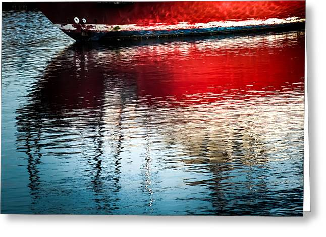Sailboats In Water Greeting Cards - Red Boat Serenity Greeting Card by Karen Wiles