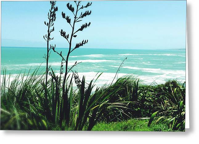 Ocean Landscape Greeting Cards - Flax and waves Greeting Card by Les Cunliffe