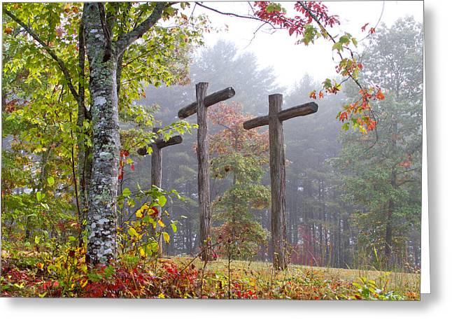 The Wooden Cross Greeting Cards - Flax Creek in the Fog Greeting Card by Debra and Dave Vanderlaan