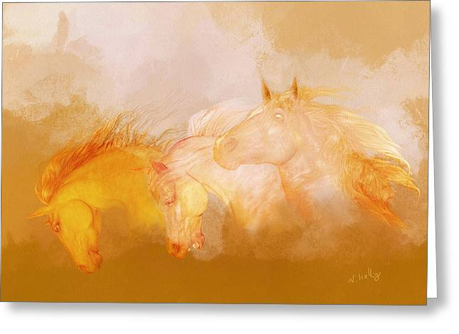 Valzart Greeting Cards - Flaxen manes Greeting Card by Valerie Anne Kelly