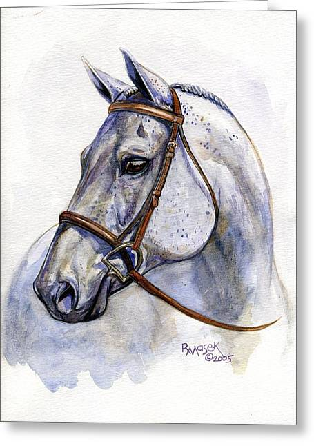Watercolor. Equine. Bridle Greeting Cards - Flea-bitten Grey Greeting Card by Robin Reed Masek