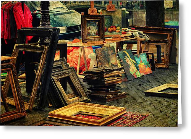 Old Stuff Greeting Cards - Flea Market. Amsterdam Greeting Card by Jenny Rainbow